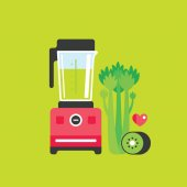 Blender with Celery and Kiwi