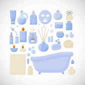 Bathroom vector flat icons big set of flat design interior body care and cosmetic products objects isolated on the dark background vector illustration