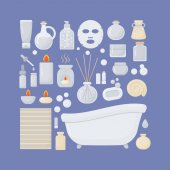 Bathroom vector flat icons set big set of flat design interior body care and cosmetic products objects isolated on the dark background vector illustration