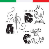 Italian alphabet Needle whale dog Vector letters and characters