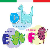 Italian alphabet Dinosaur ivy beans Vector letters and characters