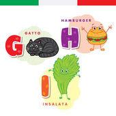 Italian alphabet Cat hamburger lettuce Vector letters and characters