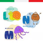 Italian alphabet Snail hazelnut jellyfish Vector letters and characters