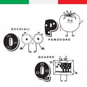 Italian alphabet Glasses tomato picture Vector letters and characters
