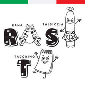 Italian alphabet Frog sausage notepad Vector letters and characters