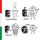 Hungarian alphabet Bowling building ice cream button Vector letters and characters