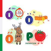 Hungarian alphabet Alarm Belt Roe Tomato Vector letters and characters