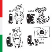 Hungarian alphabet Sheep Dog Horse Hole Vector letters and characters