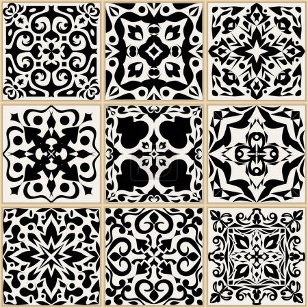 Illustration for Vector set of ceramic tiles. Ethnic asian ornaments. Collection of floral and geometric decorative patterns. Ornamental design in oriental style - Royalty Free Image