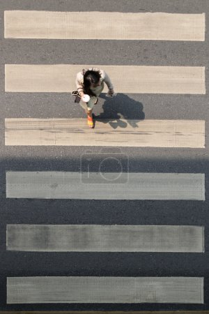 Crosswalk or Zebra crossing in Bangkok city Thailand.