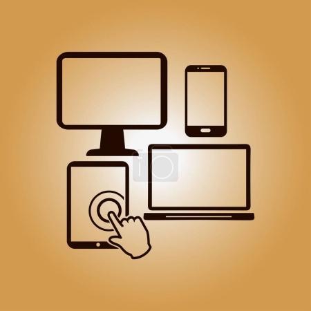 Photo for Smartphone computer tablet netbook symbol. Flat design. - Royalty Free Image