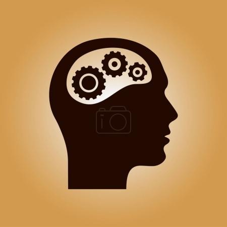 Photo pour Icône de pensée. Silhouette d'engrenage dans la tête. Style design plat . - image libre de droit
