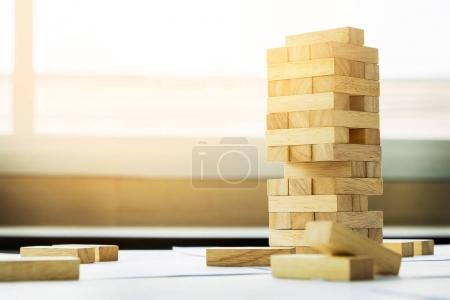 the blocks wood tower game with architectural engineer plans or