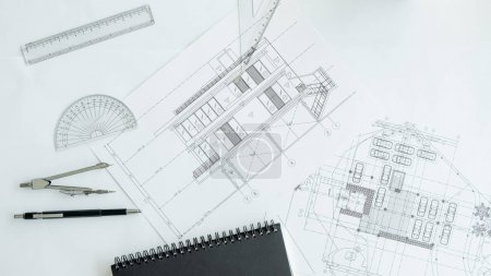 Construction equipment. Repair work. Drawings for building Archi