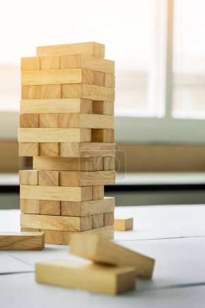 wood tower game on wooden table