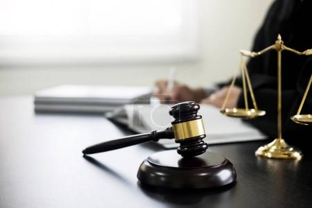 gavel and soundblock of justice law and lawyer working on wooden