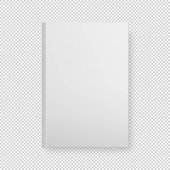 Realistic white book blank cover isolated Vector mock up