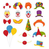 Vector Party Birthday or 1th april - Fool s Day - photo booth props Hats wigs neckties clown noses masks balloons and cylinder icon set isolated on white background Clipart design templates