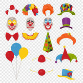 Vector Party Birthday or 1th april - Fool s Day - photo booth props Hats wigs neckties clown noses masks balloons and cylinder icon set isolated on transparency grid background Clipart design