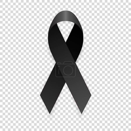 Illustration for Vector 3d realistic black awareness ribbon icon closeup isolated on transparency grid background. Mourning, melanoma and death symbol. Design template, clipart for graphics. - Royalty Free Image