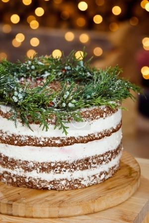 Beautiful decorated cake for Christmas table