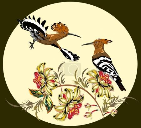A pair of hoopoes in thickets of wildflowers