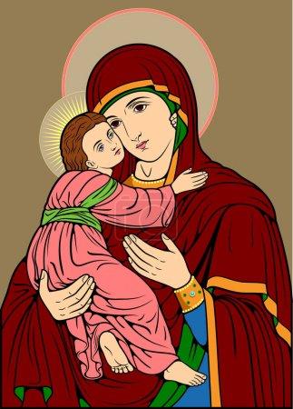 Icône avec l'image de la Vierge Marie à l'Enfant (Madonna )