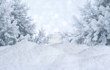 Winter abstract blurred background. Frosty landsca...