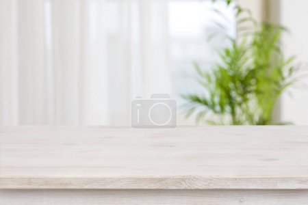 Photo for Table mockup for display of product over blurred window background - Royalty Free Image