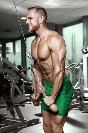 Photo for Muscular bodybuilder guy doing triceps exercises in gym - Royalty Free Image