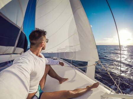 Photo for Holiday selfie on Sailing yacht catamaran in the sea. Sailboat. Sailing in caribbean sea - Royalty Free Image