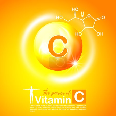 Nutrition sign vector concept. The power of vitamin C