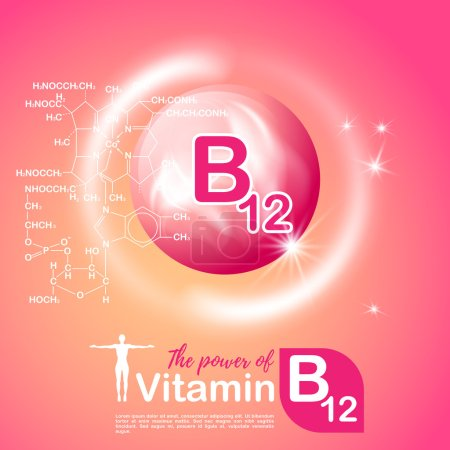 Nutrition sign vector concept. The power of vitamin B12