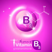 Nutrition sign vector concept The power of vitamin B3