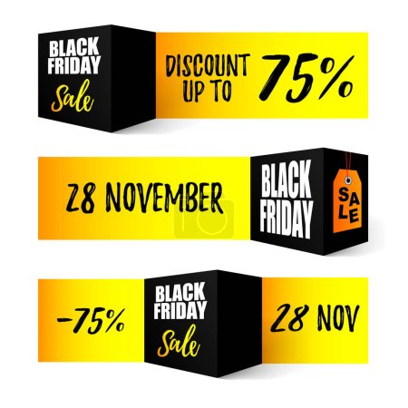Black Friday sale. Set of design elements. Shopping web banners for sales