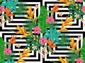 seamless pattern with flowers and palm leaves