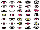 Big set of Memphis style eye icons Collection of 35 psychedelic eyes Memphis style design elements set for pattern Retro 80's collection for textile web design pattern backgrounds Fashion style