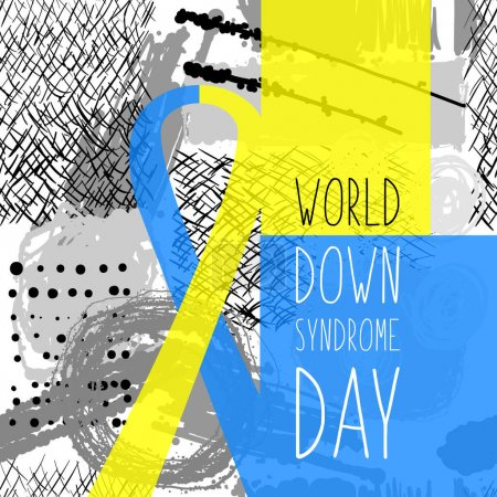 Illustration for World Down Syndrome Day. Symbol of Down Syndrome. Yellow and blue ribbon. Medical vector illustration. Health care - Royalty Free Image