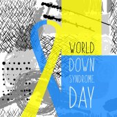 World Down Syndrome Day Symbol of Down Syndrome Yellow and blue ribbon Medical vector illustration Health care