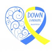 World Down Syndrome Day Symbol of Down Syndrome Yellow and blue ribbon heart Medical vector illustration Health care