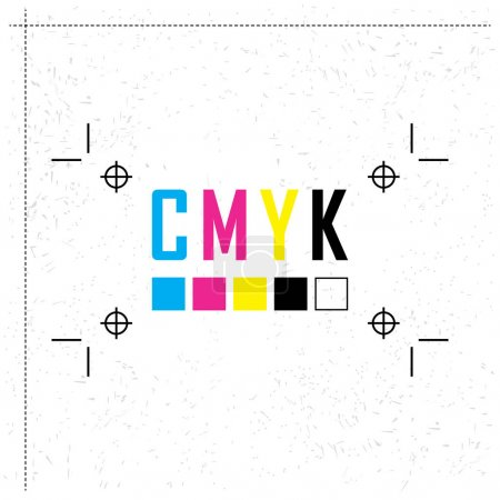 CMYK color model letter. Prepress proofing concept. Provider of printer ink and toner, letterpress printers. Keep printing!