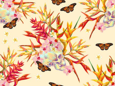 Seamless summer tropical pattern with skulls, butterflies and exotic flowers beautiful background. Perfect for wallpapers, pattern fills, web page backgrounds, surface textures, textile