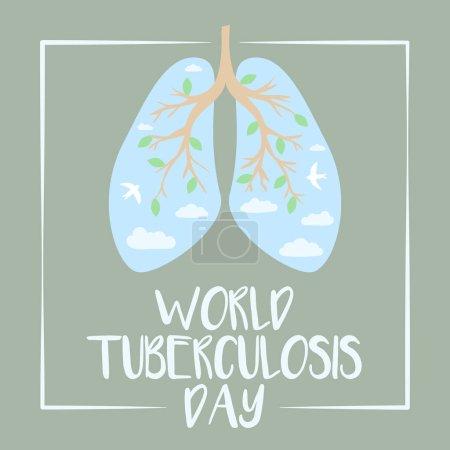 Illustration pour Journée mondiale de la tuberculose. Poumons humains. Illustration plate médicale. Soins de santé. Des branches d'arbre comme les poumons. Branches avec feuilles. Ciel avec nuages et oiseaux - image libre de droit