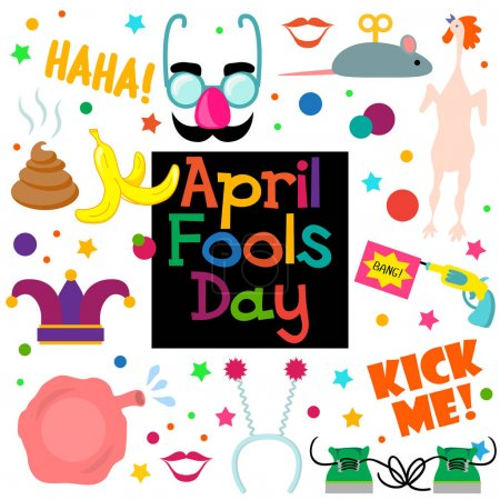 Illustration for 1 April fools day. Celebration vector illustration for your design. Flat vector illustration - Royalty Free Image