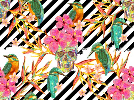 Seamless summer tropical pattern with skulls, birds and exotic flowers vector background. Tropical flowers. Perfect for wallpapers, pattern fills, web page backgrounds, surface textures, textile