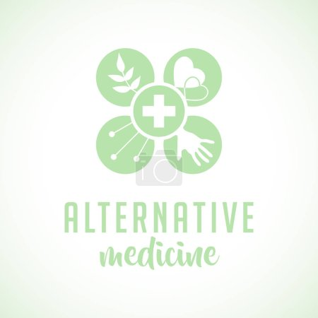 Alternative medicine logo, sign, icon. Chinese medicine. wellness, yoga, zen concept. Flat style. Holistic center, naturopathic, homeopathy, acupuncture, ayurveda, chinese medicine, womans health