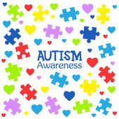 World autism awareness day Colorful puzzles and hearts vector background Symbol of autism Medical flat illustration Health care