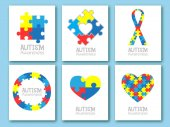 World autism awareness day Colorful puzzle symbol of autism Vector illustration Medical flat illustration Health care Set of card invitation poster design template Collection of design element