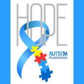World autism awareness day Blue ribbon with colorful puzzles vector background Hope Symbol of autism Medical flat illustration Health care