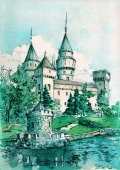 Watercolor painting of Bojnice Castle. Ancient wall and towers on a shore of some pond, summer landscape.